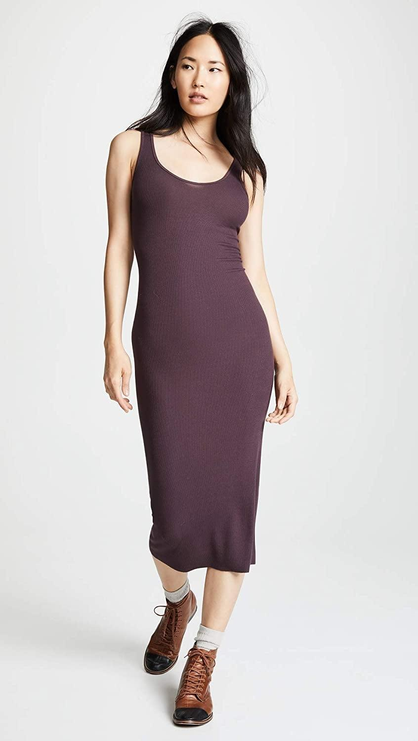 <p>This <span>Enza Costa Stretch Silk Rib Tank Midi Dress</span> ($116) was designed to be lived in, thanks to its stretchy fabric yet put-together appearance. The color makes it super wearable and easy to style.</p>