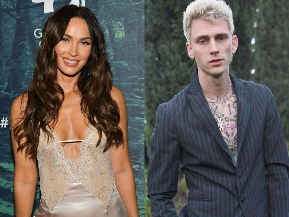 Megan Fox and Machine Gun Kelly cuddle in a photo with their Midnight in the Switchgrass co-stars as production resumes. (Photos: Getty Images)