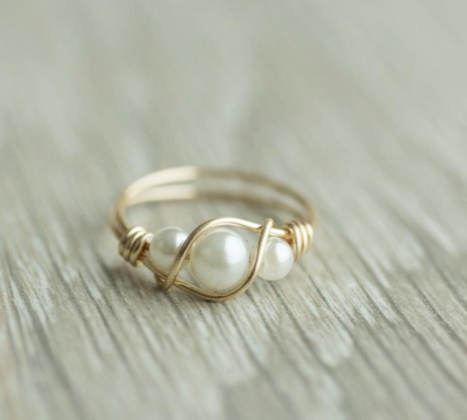 <p>This <span>3-Pearl Ring</span> ($39) is handmade, which makes it extra special.</p>