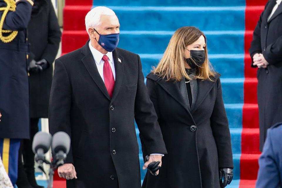 Vice President Mike Pence and Karen Pence arrive at the inauguration (Getty Images)