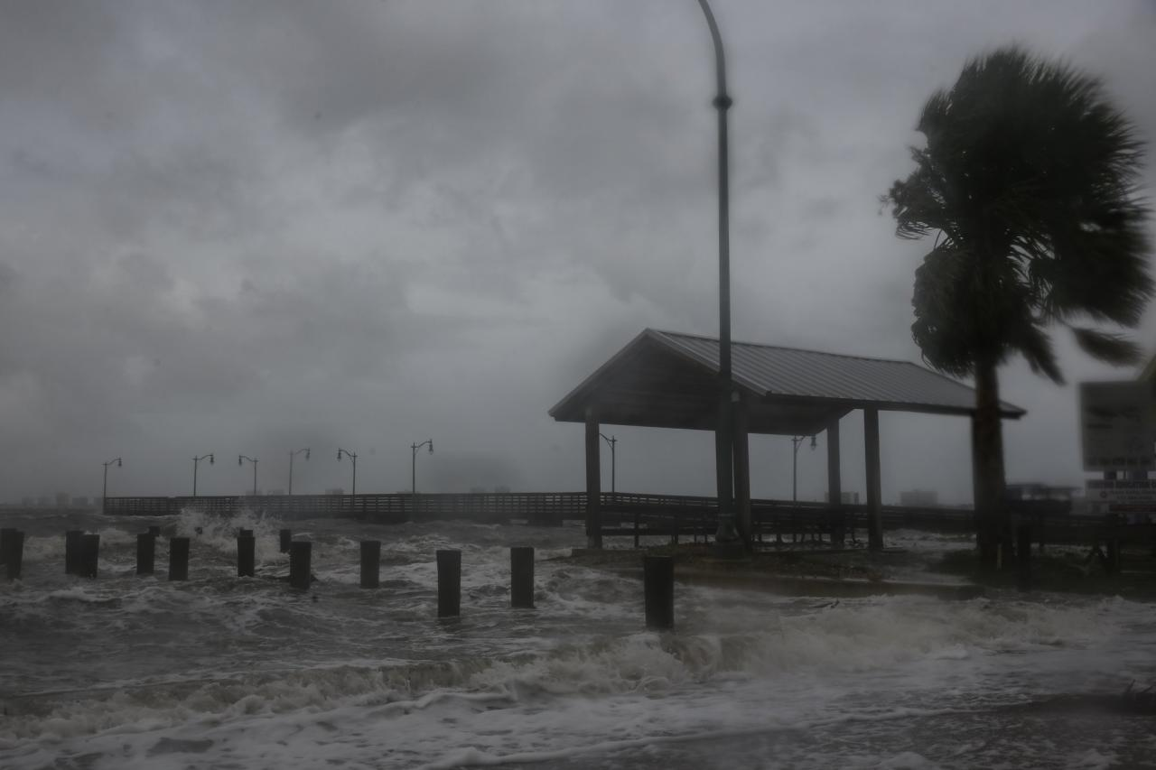 Strong wind and heavy rain pour over a pier at the Jensen Beach Causeway Park in Jensen Beach, Florida on Sep. 3.  Weakening slightly but still packing a powerful punch, Hurricane Dorian has turned towards the southeastern coast of the U.S. after causing destruction to the Bahamas.