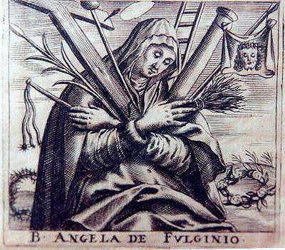 <span>Angela of Foligno</span>&amp;nbsp;was a Franciscan mystic who was born into a prestigious family and married at the age of 20. A series of events, which included a violent earthquake in 1279 and an ongoing war against Perugia lead her to call upon St Francis, who appeared to her in a vision and instructed her to go to confession. Three years later, her mother, husband and all of her children died in the span of a few months. Angela then sold her possessions and in 1291 enrolled in the Third Order of St Francis. At 43, Angela <span>had a vision</span>&amp;nbsp;of God&amp;rsquo;s love while she was making a pilgrimage to the shrine of St. Francis of Assisi. She dictated her experiences in <i>The Book of the Experience of the Truly Faithful</i>. Pope Francis <span>canonized</span>&amp;nbsp;Angela of Foligno in 2013.