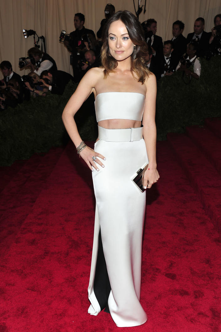 """Olivia Wilde attends The Metropolitan Museum of Art's Costume Institute benefit celebrating """"PUNK: Chaos to Couture"""" on Monday May 6, 2013 in New York. (Photo by Charles Sykes/Invision/AP)"""