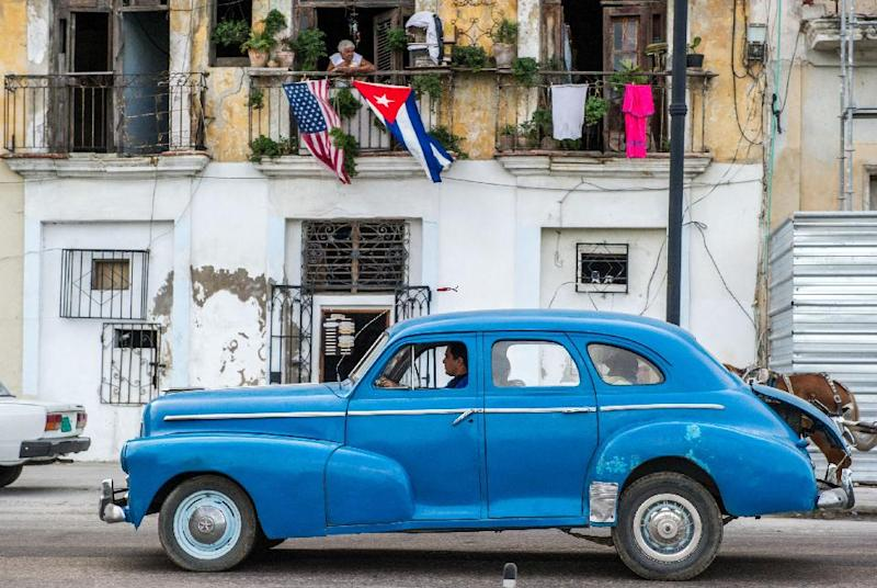 An old American car is seen in a street of Havana, on December 19, 2014 (AFP Photo/Yamil Lage)