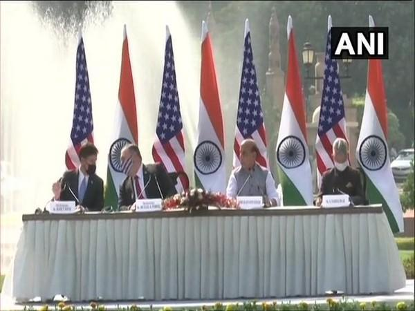 US Secretary of State Michael Pompeo, Secretary of Defense Mark Esper, EAM S Jaishankar and Defence Minister Rajnath Singh in a joint press conference after the 2+2 Dialogue. Photo/ANI