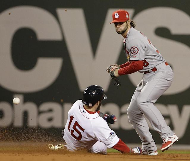 St. Louis Cardinals' Pete Kozma can't handle a throw as Boston Red Sox's Dustin Pedroia slides into second during the first inning of Game 1 of baseball's World Series Wednesday, Oct. 23, 2013, in Boston. (AP Photo/David J. Phillip)