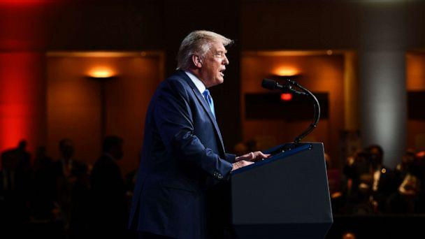 PHOTO: President Donald Trump speaks during the first day of the Republican National Convention on Aug. 24, 2020, in Charlotte. (Brendan Smialowski/AFP via Getty Images)