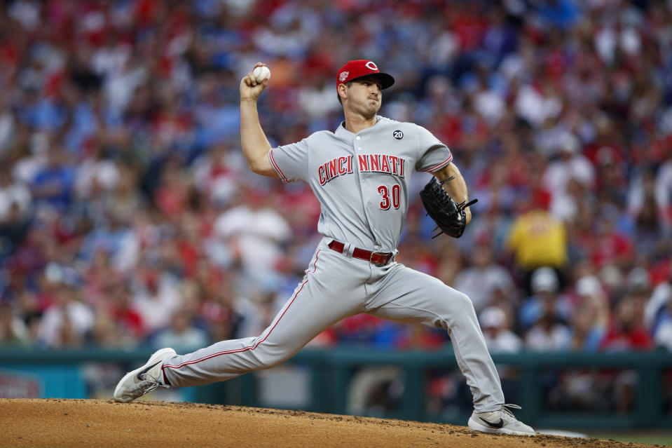 Cincinnati Reds' Tyler Mahle pitches during the third inning of the team's baseball game against the Philadelphia Phillies, Friday, June 7, 2019, in Philadelphia. (AP Photo/Matt Slocum)