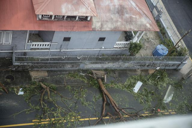 <p>Damage in the Miramar neighborhood is seen from inside the Ciqala hotel as Hurricane Maria bears down September 20, 2017 in San Juan, Puerto Rico. (Photo: Alex Wroblewski/Getty Images) </p>