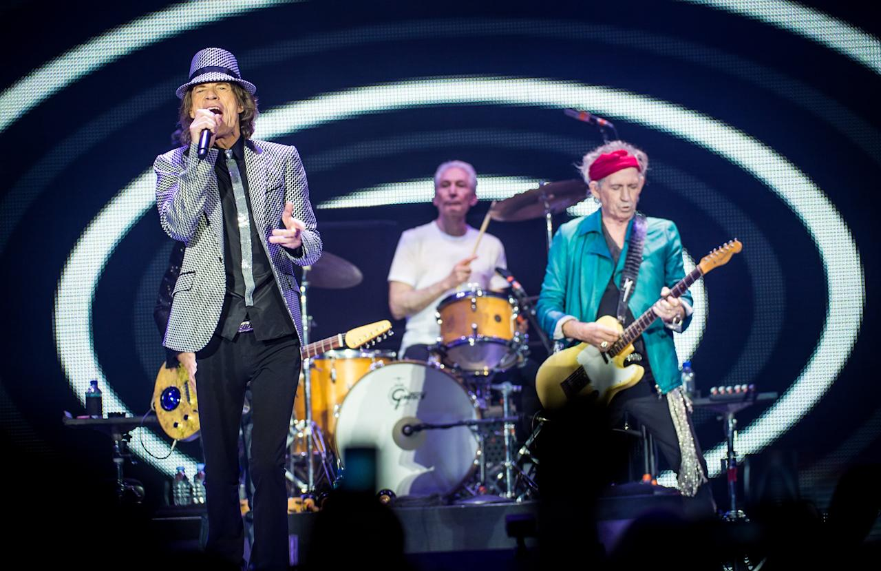LONDON, ENGLAND - NOVEMBER 25: (STRICTLY EDITORIAL USE ONLY) Mick Jagger, Charlie Watts and Keith Richards of The Rolling Stones perform live at 02 Arena on November 25, 2012 in London, England.  (Photo by Ian Gavan/Getty Images)