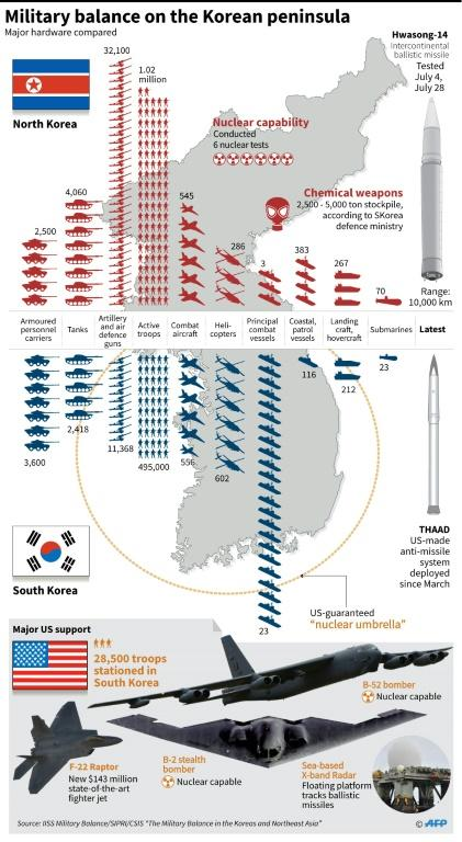 Graphic comparing the military hardware of North and South Korea