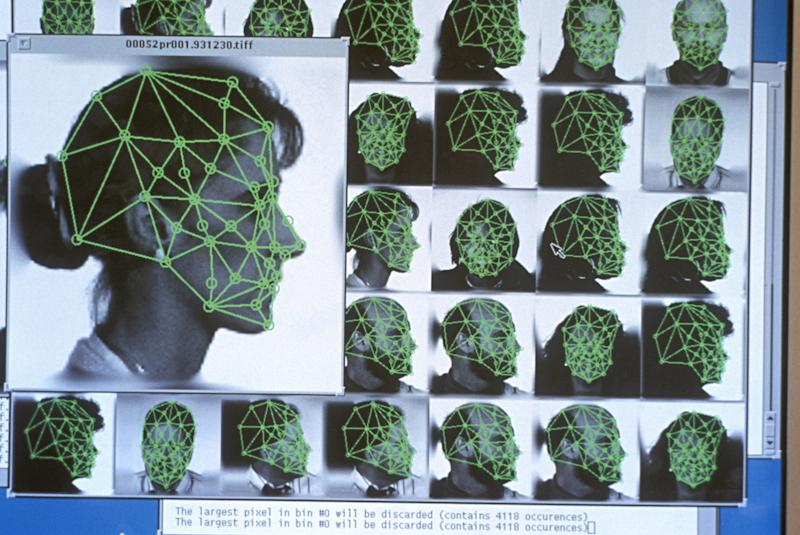 DIGITIZED FACIAL RECOGNITION USING GRID WITH SPECIFIC FEMALE POINTS.