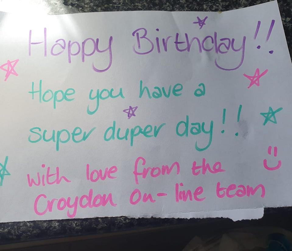 """The note written by a Woolworths worker reads: """"Happy Birthday Hope you have a super duper day!"""""""