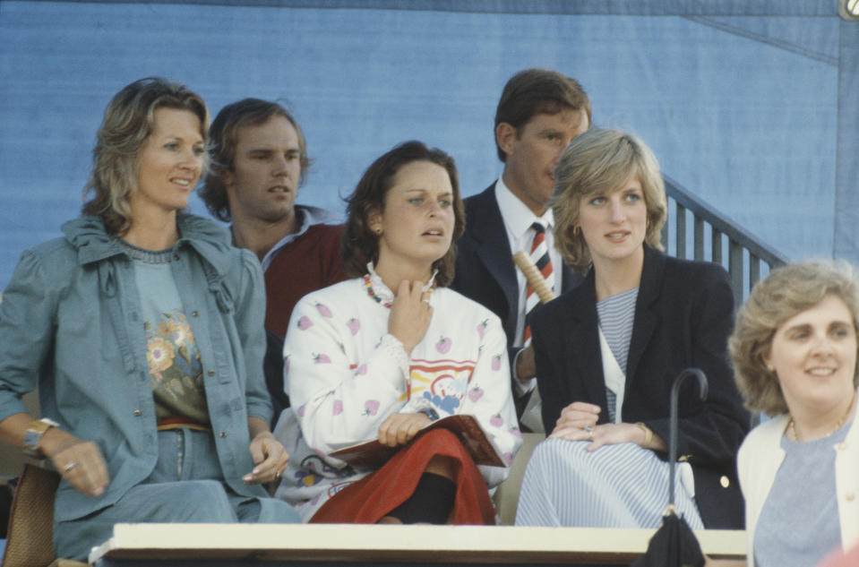 Diana, Princess of Wales (1961 - 1997) with her old flatmate Ann Bolton (centre) during a polo match at Warwick Farm, Sydney, Australia, 10th April 1983. On the left is Mrs Sinclair Hill. (Photo by Jayne Fincher/Princess Diana Archive/Getty Images)