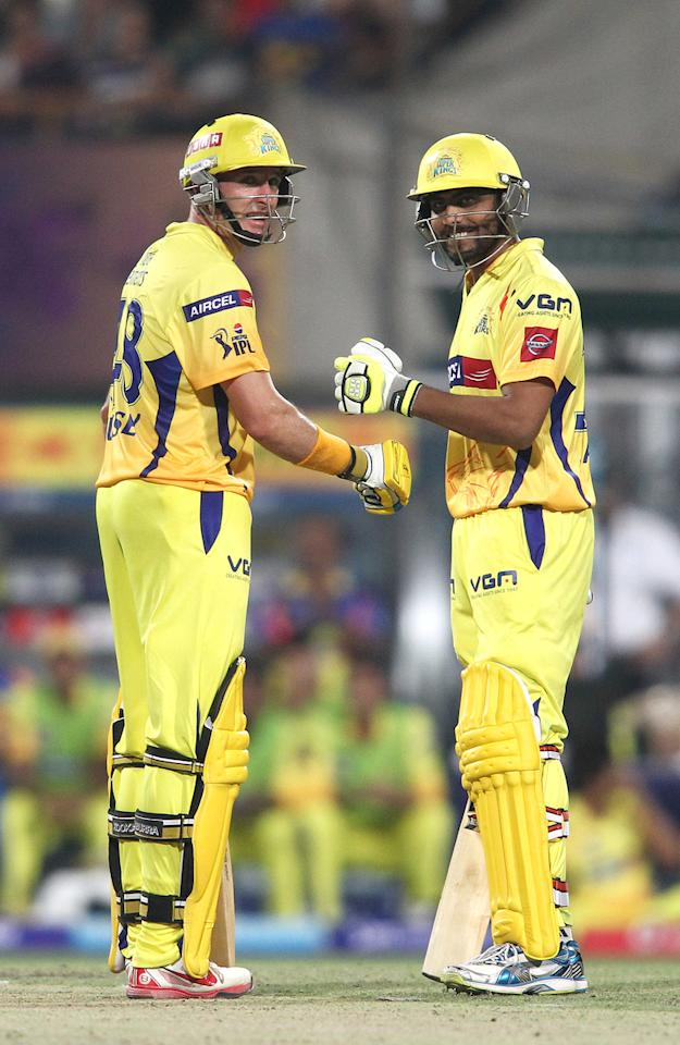 Michael Hussey of Chennai Super Kings and Ravindra Jadeja of Chennai Super Kings celebrate a boundary during match 26 of the Pepsi Indian Premier League between The Kolkata Knight Riders and the Chennai Superkings held at the Eden Gardens Stadium in Kolkata on the 20th April 2013..Photo by Shaun Roy-IPL-SPORTZPICS  ..Use of this image is subject to the terms and conditions as outlined by the BCCI. These terms can be found by following this link:..https://ec.yimg.com/ec?url=http%3a%2f%2fwww.sportzpics.co.za%2fimage%2fI0000SoRagM2cIEc&t=1490221571&sig=8OzePchtem40QHVpATu_sg--~C