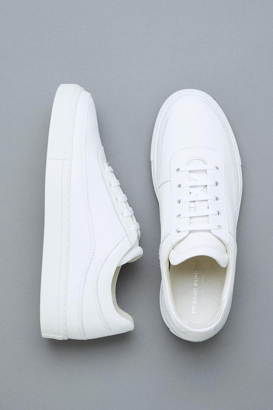 "<p>These versatile <a href=""https://www.popsugar.com/buy/Public-School-Classic-Braeburn-Sneakers-584505?p_name=Public%20School%20Classic%20Braeburn%20Sneakers&retailer=publicschoolnyc.com&pid=584505&price=425&evar1=fab%3Aus&evar9=47571677&evar98=https%3A%2F%2Fwww.popsugar.com%2Ffashion%2Fphoto-gallery%2F47571677%2Fimage%2F47571934%2FPublic-School-Classic-Braeburn-Sneakers&list1=shopping%2Cshoes%2Csneakers%2Csummer%2Csummer%20fashion%2Cfashion%20shopping&prop13=mobile&pdata=1"" rel=""nofollow noopener"" class=""link rapid-noclick-resp"" target=""_blank"" data-ylk=""slk:Public School Classic Braeburn Sneakers"">Public School Classic Braeburn Sneakers</a> ($425) go with everything.</p>"