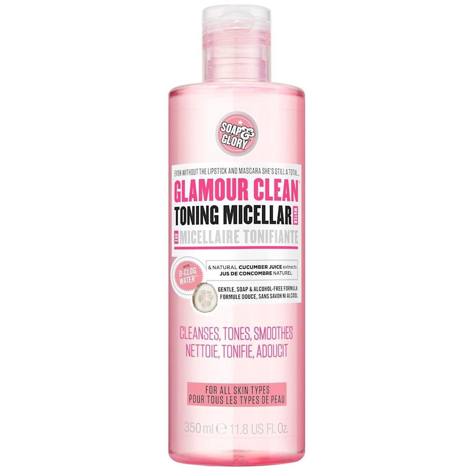 <p>The gentle <span>Soap &amp; Glory Glamour Clean 5-in-1 Magnetizing Micellar Make Up Remover</span> ($11) is soap and alcohol free, so even those with sensitive skin can use it.</p>