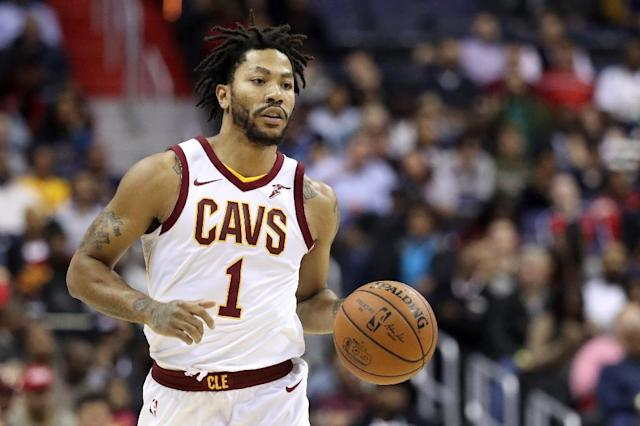 "<a class=""link rapid-noclick-resp"" href=""/nba/players/4387/"" data-ylk=""slk:Derrick Rose"">Derrick Rose</a> remained vague when asked about his return to the Cavs lineup. (AFP)"