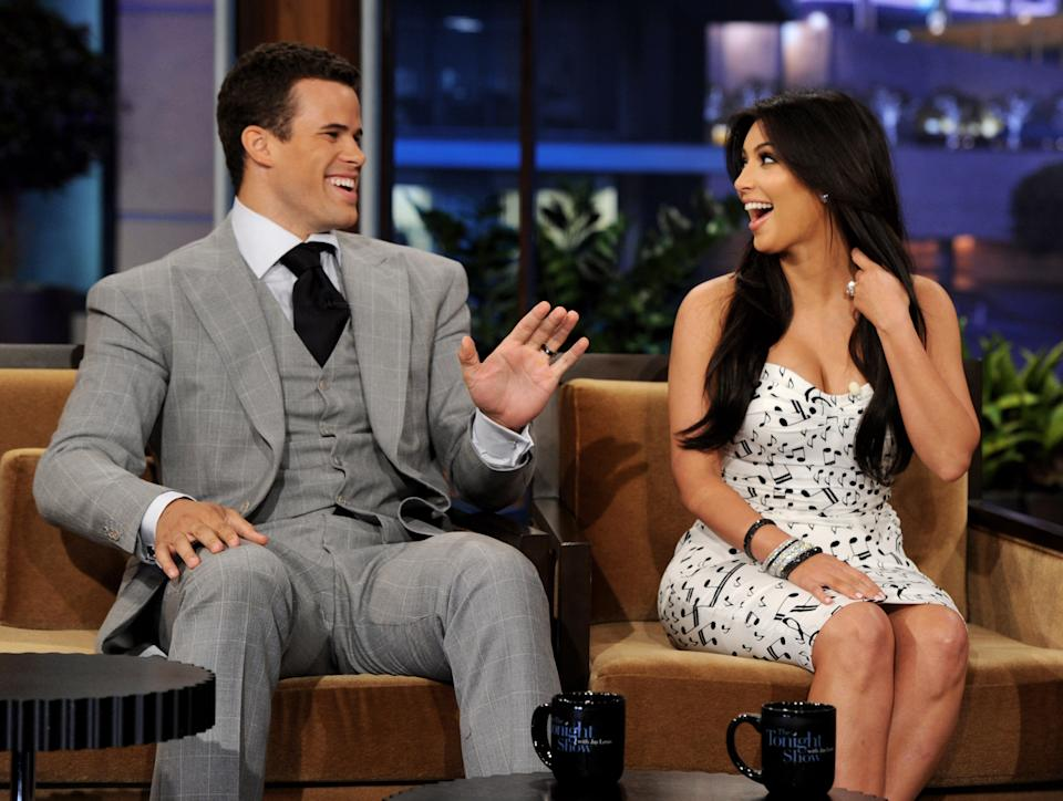 Kris Humphries (L) and then-wife reality TV personality Kim Kardashian appear on the Tonight Show With Jay Leno at NBC Studios on October 4, 2011 in Burbank, California. (Photo by Kevin Winter/NBCUniversal/Getty Images)