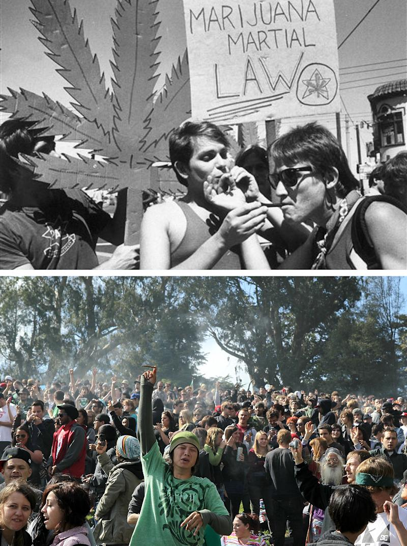 Top: Two protesters take a drag on each other's joints during a rally and parade organized by the Northern California Marijuana Growers in San Francisco in 1984. Bottom: A cloud of smoke rests over the heads of a group of people during a 420 Day celebration on