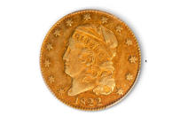 This image taken from video provided by Stack's Bowers Galleries shows a 1822 Half Eagle gold coin from the D. Brent Pogue Collection that was sold at Stack's Bowers Galleries in Las Vegas. The coin trading world has a new gold standard, after the only known 1822 half eagle $5 piece in private hands sold at auction in Las Vegas for $8.4 million, experts said Friday, March 26, 2021. (Stack's Bowers Galleries via AP)