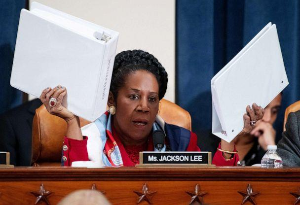PHOTO: Rep. Sheila Jackson Lee holds up copies of the Mueller Report as she questions constitutional scholars during a House Judiciary Committee hearing on Capitol Hill in Washington, Dec. 4, 2019. (Saul Loeb/AFP via Getty Images)