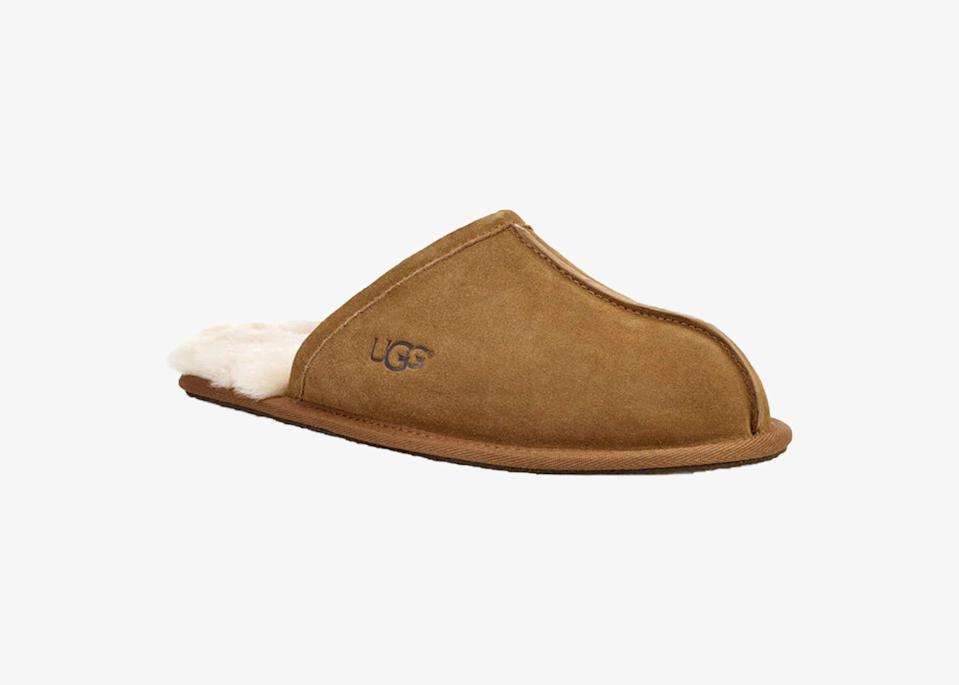 """The soft, moisture-wicking sheepskin wool lining of this <a href=""""https://www.cntraveler.com/story/what-to-wear-on-a-plane?mbid=synd_yahoo_rss"""" rel=""""nofollow noopener"""" target=""""_blank"""" data-ylk=""""slk:classic shoe"""" class=""""link rapid-noclick-resp"""">classic shoe</a> has made it an all-time favorite from the nostalgic Australian-inspired brand. The Scuff comes with a thin rubber sole that has just the right amount of support and stability for being on your feet <a href=""""https://www.cntraveler.com/story/editors-favorite-international-recipes?mbid=synd_yahoo_rss"""" rel=""""nofollow noopener"""" target=""""_blank"""" data-ylk=""""slk:in the kitchen"""" class=""""link rapid-noclick-resp"""">in the kitchen</a> or just lounging around on the weekend. Colors include the popular chestnut, burnt olive, and espresso. $80, Ugg. <a href=""""https://www.ugg.com/s/UGG-US/men/scuff-slipper/191142828338.html"""" rel=""""nofollow noopener"""" target=""""_blank"""" data-ylk=""""slk:Get it now!"""" class=""""link rapid-noclick-resp"""">Get it now!</a>"""