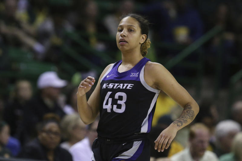 Kansas State guard Christianna Carr runs up court against Baylor in the second half of an NCAA college basketball game, Saturday, Feb. 29, 2020, in Waco, Texas. (AP Photo/Rod Aydelotte)