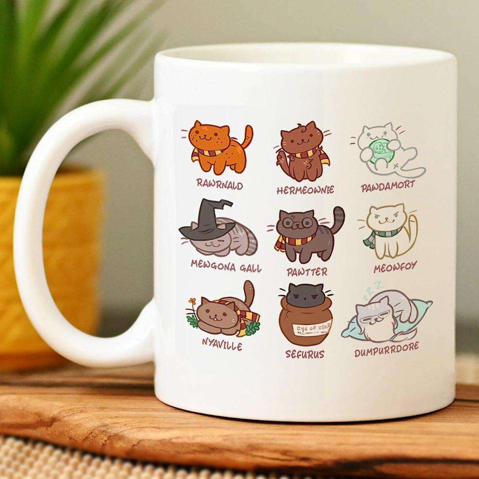 """<p>Cat-lovers and <strong><a class=""""link rapid-noclick-resp"""" href=""""https://www.popsugar.com/Harry-Potter"""" rel=""""nofollow noopener"""" target=""""_blank"""" data-ylk=""""slk:Harry Potter"""">Harry Potter</a></strong> fans will appreciate the wonderfully punny <span>Harry Potter Kitten Mug</span> ($16, and up). They'll look forward to their morning coffee and get a laugh out of this quirky find. </p>"""