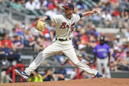 FILE PHOTO: Apr 28, 2019; Atlanta, GA, USA; Atlanta Braves relief pitcher Jerry Blevins (50) throws the ball against the Colorado Rockies during the seventh inning at SunTrust Park. Mandatory Credit: Dale Zanine-USA TODAY Sports