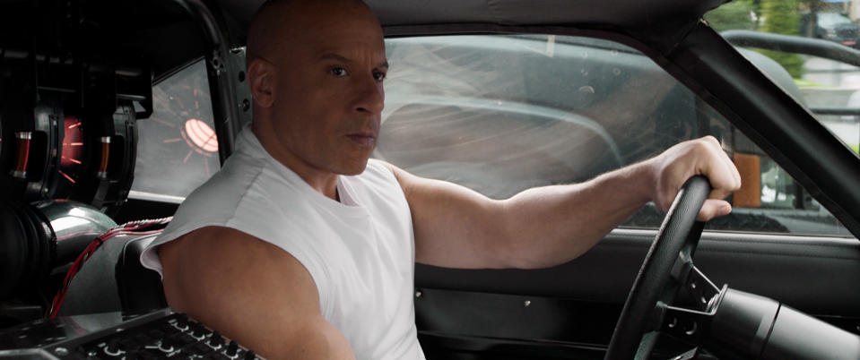 """This image released by Universal Pictures shows Vin Diesel in a scene from """"F9: The Fast Saga."""" (Universal Pictures via AP)"""