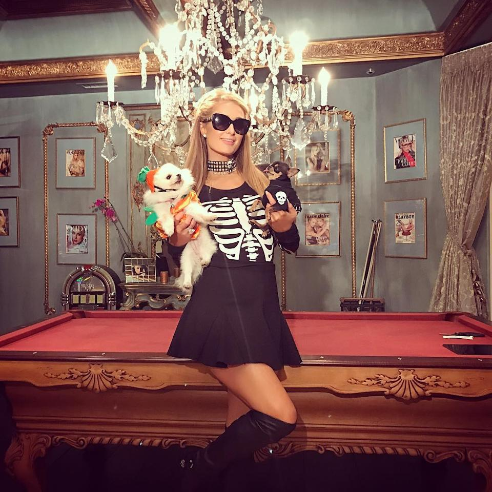 "<p>Paris Hilton cuddled a couple of pups over the weekend as she judged a <a rel=""nofollow"" href=""https://www.instagram.com/p/Ba2Ns4Xne0R/?hl=en&taken-by=parishilton"">doggie Halloween costume competitio</a>n, which must have been a tough, tough gig. (Photo: Instagram/Paris Hilton) </p>"