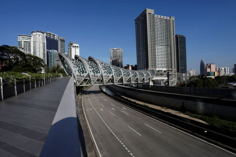 A view of deserted roads during a lockdown due to the coronavirus disease (COVID-19) outbreak, in Kuala Lumpur