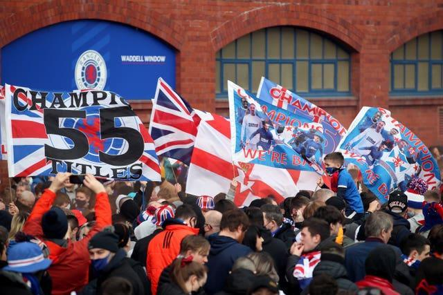 Rangers fans celebrated in the city centre and outside Ibrox