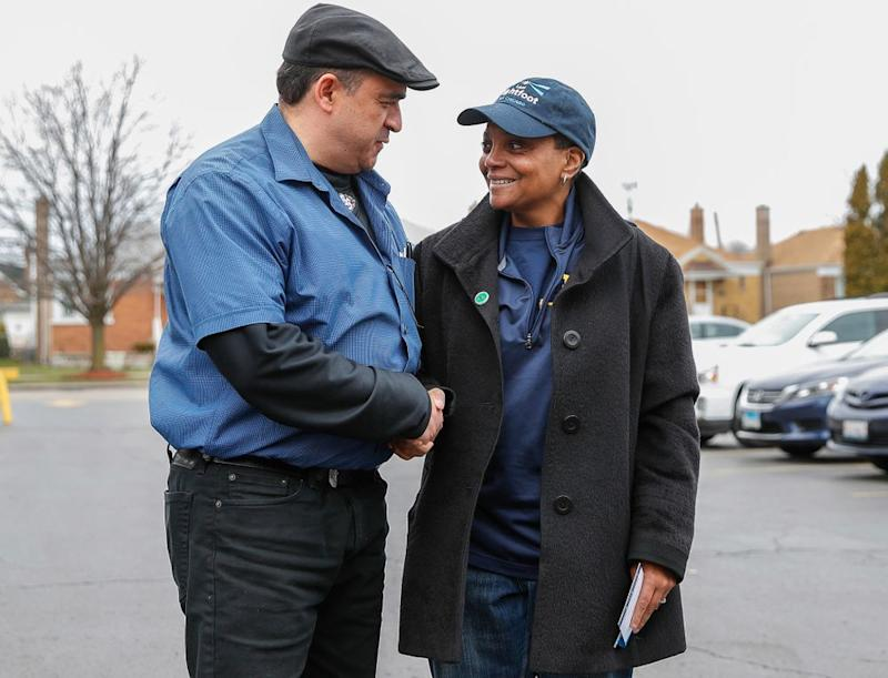 Lori Lightfoot (right) while campaigning to be Chicago's mayor   KAMIL KRZACZYNSKI/AFP/Getty