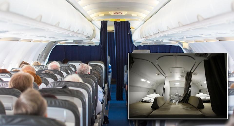 Some planes have bedrooms, also known as rest areas, where cabin crew can rest during flights.