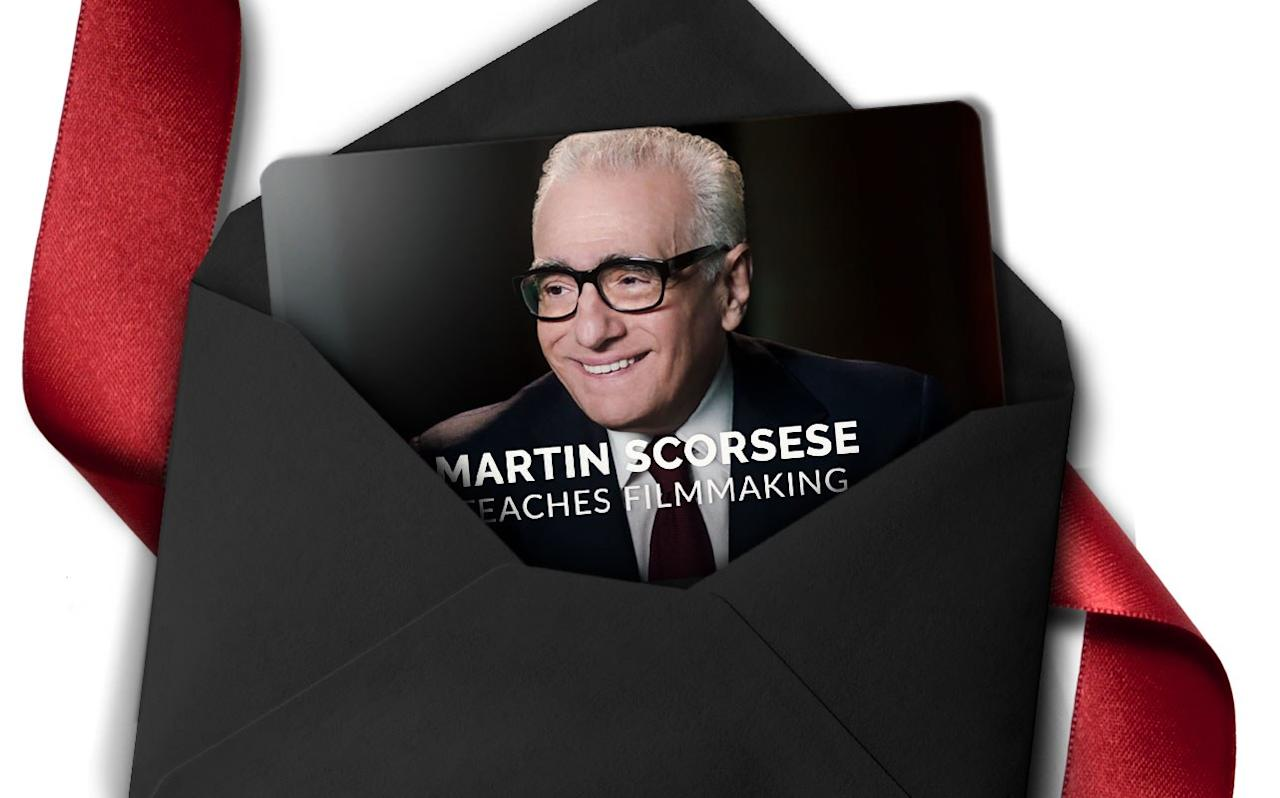 """Know someone who'd like to translate their love of movies into films of their own? Give the gift of knowledge—specifically, masterclass.com's directing MasterClass taught by <strong>Martin Scorsese.</strong> His first-ever online course gives students the opportunity to learn from one of the best, using 30 online lessons.        <a href=""""https://www.masterclass.com/classes/martin-scorsese-teaches-filmmaking"""" rel=""""nofollow"""">Buy a single MasterClass for $90</a>."""
