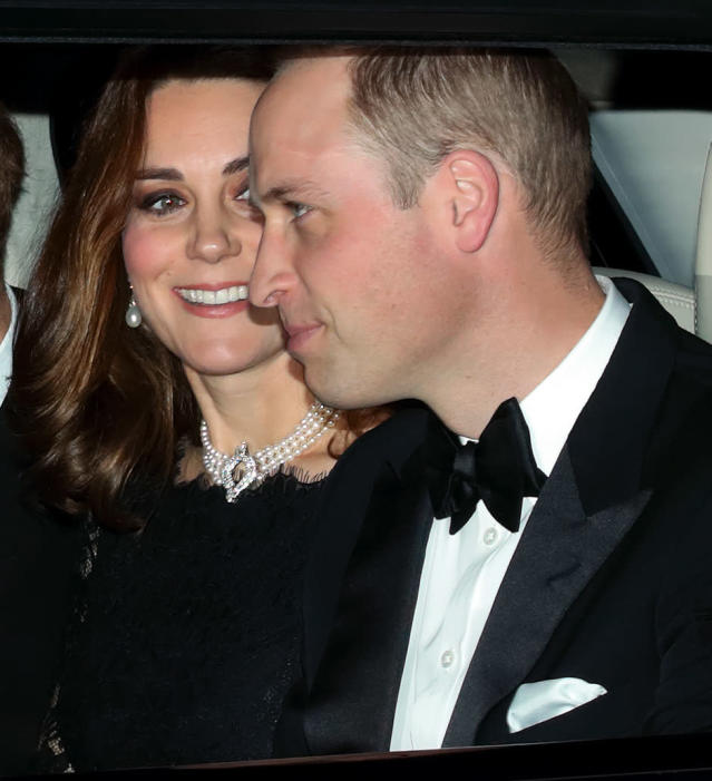 The Duchess of Cambridge borrowed a stand-out pearl choker from the monarch. (Photo: Getty Images)