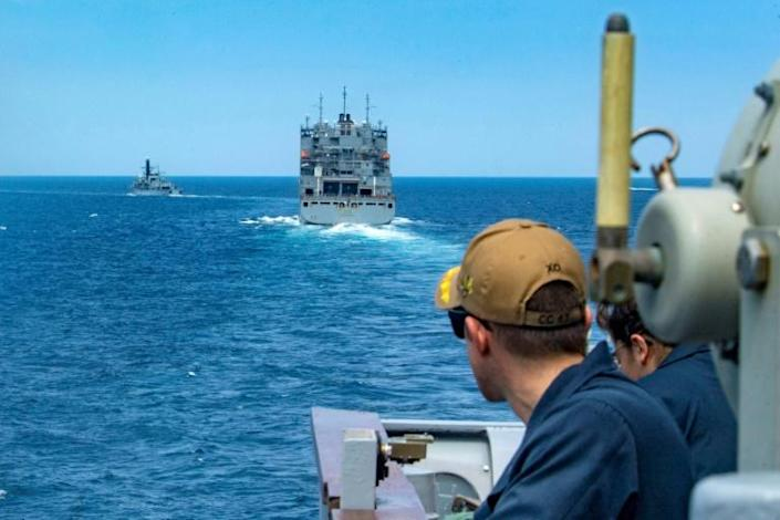 The US Navy and other maritime forces often escort ships through hostile areas in the Gulf region