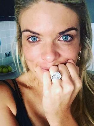 She showed off her giant engagement ring in April. Photo: Instagram