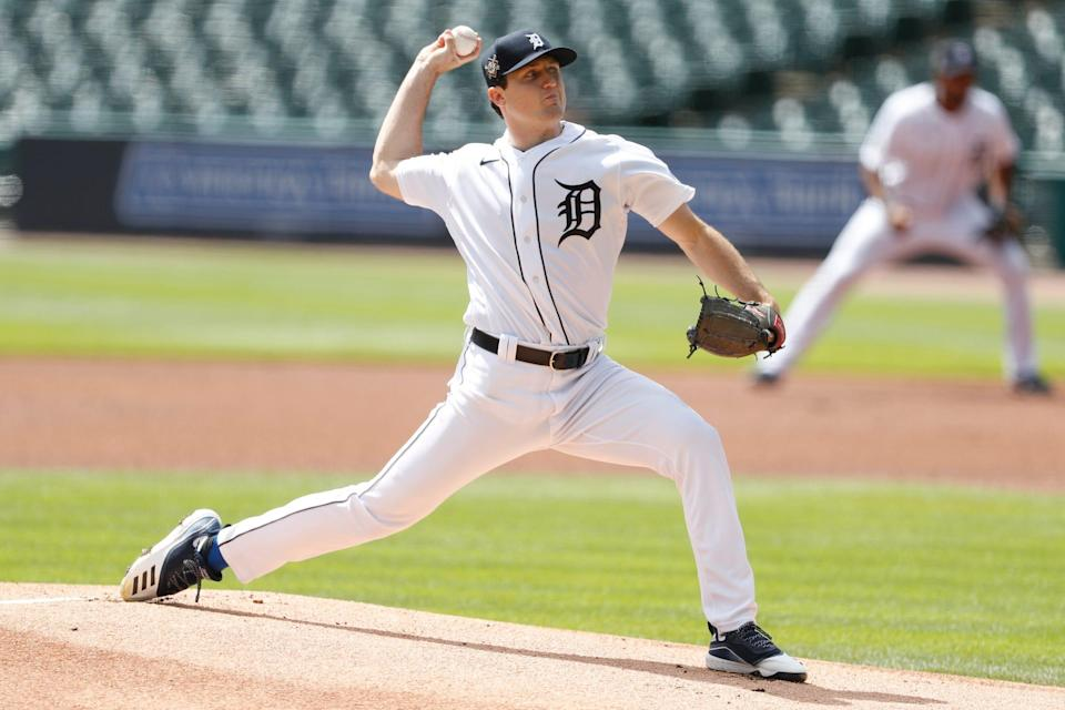 Detroit Tigers starting pitcher Casey Mize pitches during the first inning against the Minnesota Twins at Comerica Park, Aug. 30, 2020.