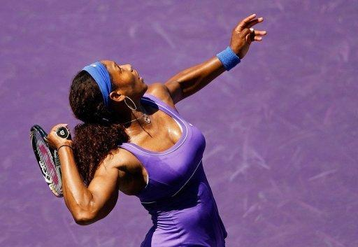 Serena Williams, seen here in action against Zhang Shuai of China during Day 4 of the Sony Ericsson Open at Crandon Park Tennis Center in Key Biscayne, Florida. Serena, saying she felt nervous and rusty, made a triumphant WTA return from a left ankle injury, defeating Zhang 6-2, 6-3