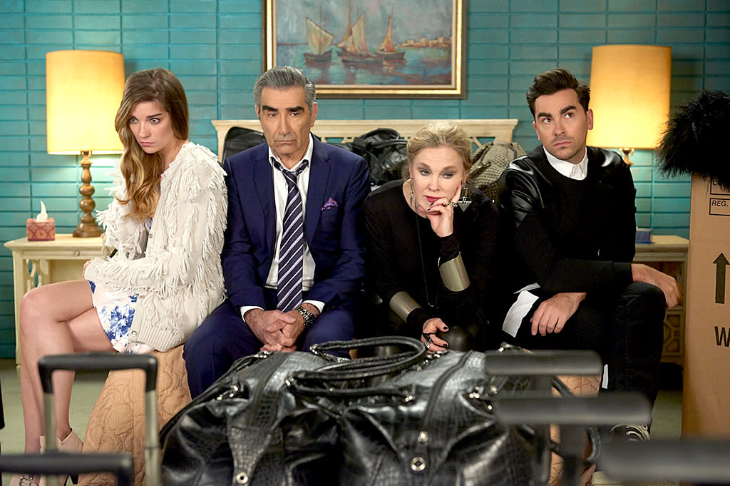 """<p>It's TV's best-kept comedy secret, if only because many people may still not know they get Pop. That's the channel where the Canadian import — about an uber wealthy family that suddenly loses everything but the titular podunk town dad (Eugene Levy) once purchased as a joke — premieres its fourth season <span><span>Jan. 24</span></span>. Catch the entire series and behold Catherine O'Hara's Emmy-worthy performance as Moira, a former actress whose greatest role will be learning to play mother to her two spoiled adult children (Dan Levy and Annie Murphy). <em>— M.B.</em><br /><br /><em>Available to stream: <a rel=""""nofollow"""" href=""""https://www.youtube.com/watch?v=W0uWS6CnC2o"""">Netflix</a> (or purchase episodes on Amazon, Google Play, iTunes, etc.)</em><br /><br />(Photo: CBS) </p>"""