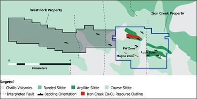 Figure 1. Bedrock geology map showing Iron Creek Project and newly acquired West Fork property (CNW Group/First Cobalt Corp.)