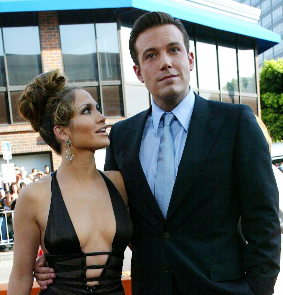 Actors Ben Affleck and Jennifer Lopez attend the premiere of Revolution Studios' and Columbia Pictures' film