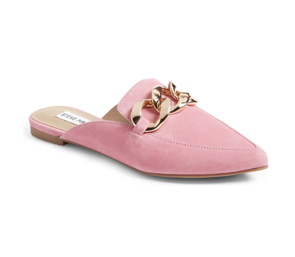 Steve Madden Finn Chain Pointed Toe Mule in Pink Suede (Photo via Nordstrom)