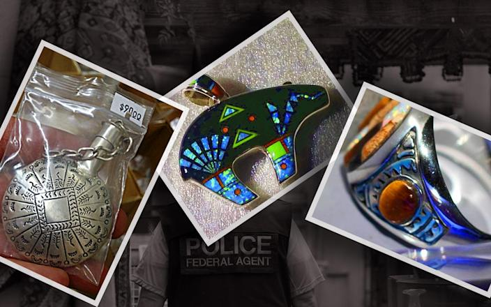Fake Native American-styled jewelry seized by federal officials during a 2015 investigation in New Mexico. (Yahoo News photo illustration; photos: U.S. Fish and Wildlife Service via AP, Eddie Moore/Albuquerque Journal via ZUMA Wire)
