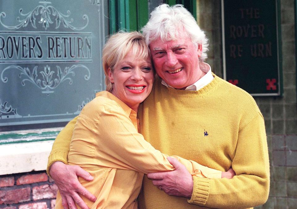 It was a family affair on Coronation Street today (Thursday), as it was revealed the real life father of actress Denise Welch (left) has been signed up to play her on-screen father-in-law.  Vin Welch (right) has been brought in as Bob Barnes whose son Des will be seen marrying Natalie Horrocks on TV tomorrow night.   The 62-year-old Geordie took up acting recently after 40 years as a sweet manufacturer and only told the soap's bosses who he was,  after successfully auditioning for the role.   (Photo by Bob Collier - PA Images/PA Images via Getty Images)