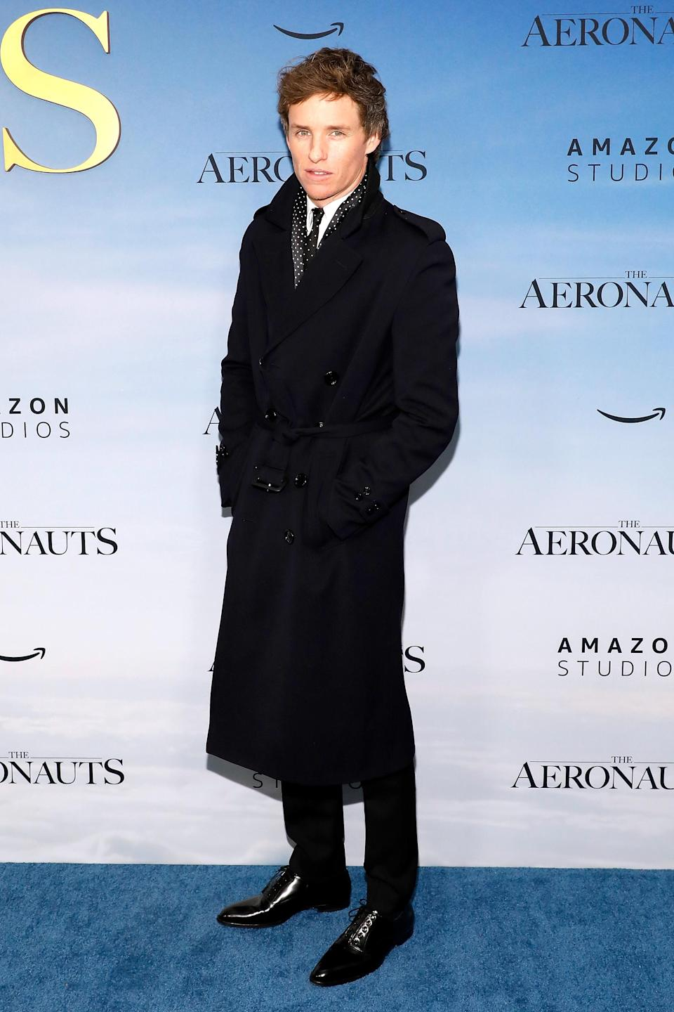 """Eddie Redmayne attends the premiere of """"The Aeronauts"""" at SVA Theater on December 04, 2019 in New York City. (Photo by Taylor Hill/WireImage)"""