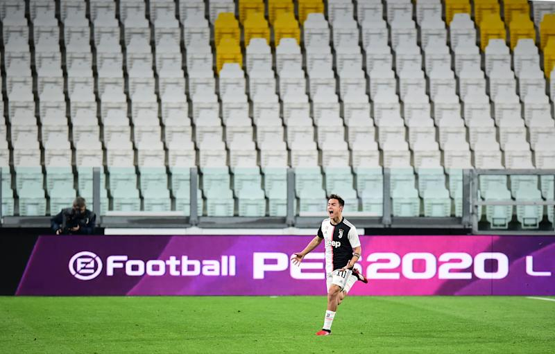 Soccer Football - Serie A - Juventus v Inter Milan - Allianz Stadium, Turin, Italy - March 8, 2020 Juventus' Paulo Dybala celebrates scoring their second goal REUTERS/Massimo Pinca